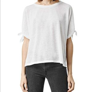 All Saints catkin tie sleeve white Tee small